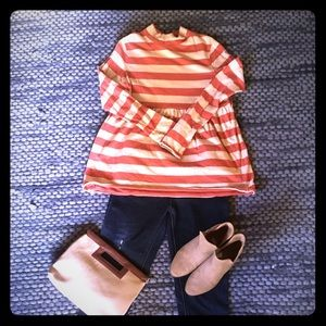 Free People orange and cream striped top size M